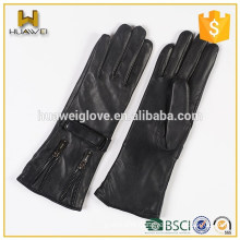 daily usage life Women leather gloves with zipper