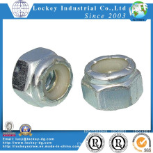 Carbon Steel Hex Nylon Nut Zinc Plated White Nylon