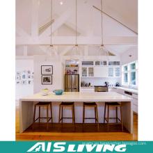 Muebles de gabinetes de cocina de laca blanca con isla (AIS-K329)