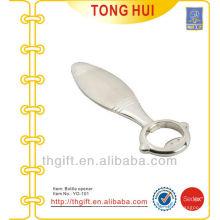 Metal fundición a presión plata logotipo en blanco abridores