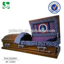 solid wood casket with handles