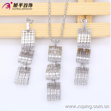 63535 Newest Fashion Pretty Square Rhodium Jewelry Set for Women
