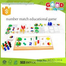 Diseño de dibujos animados de madera de juguete de aprendizaje de rompecabezas, Lovely madera aprender número de número de juguete, juego de número de juego educativo MDD-1014