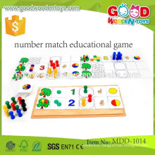 Cartoon design wooden learning puzzle toy,Lovely wooden learn count number toy,number match educational game MDD-1014