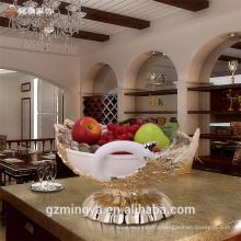 Indoor peacock shaped high quality eco-friendly resin home decorative fruit bowl