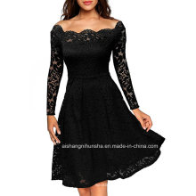 High Quality Elegant Sexy Lace Evening Dress with Pendulum