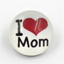 18mm Personalizado 'i Love Mom' Botón Resina Snap Botón para Brecelet