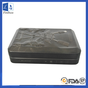 Hinged USB Gift Tin Box With Embossing