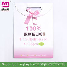 Pink punch hole art 100% paper bag for Pure Hydrolyzed Collagen