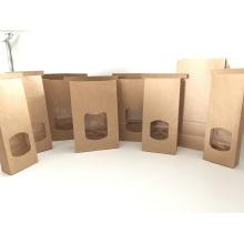 Sacs en papier kraft à fond plat pour emballages alimentaires
