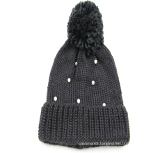 2020 Wholesale Winter Knit Hat Beanie Hats plain color with beads