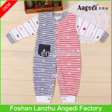 Baby clothing Baby Boys Stripe Snap-Up romper Feet cover Romper