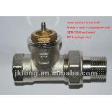 Válvula de radiador termostática reta válvula de radiador de latão