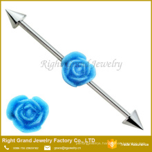 316L Surgical Steel Industrial Barbell With Resin Flower 38mm