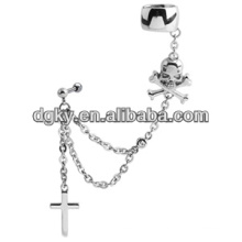 Crânio e cruz piercing orelha cadeia orelha cuff jóias