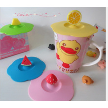 Cute Cat Design Silicone Cup Cover, Coffee Bowl Cover