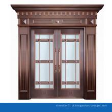 Projeto da porta de entrada de cobre luxo fosco vidro porta exterior com cabeça porta abobadada