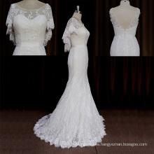 Vestido de boda de la sirena romántica del cordón del satén