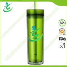 Taza de paja acrílica promocional de 16 onzas, sin BPA