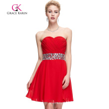 Grace Karin sin tirantes de color rojo rebordear vestidos de baile corto CL4792-1