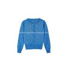 Girls's Printing Outwear Soft Crew-neck Sweater  Cardigan