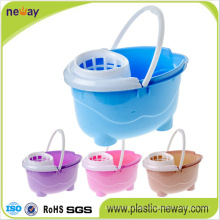 Squeeze Plastic Mop Bucket with Wheels