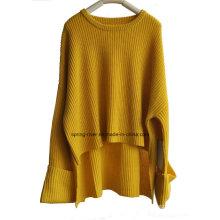 Moda soltas manga extra senhoras suéter pullover camisola