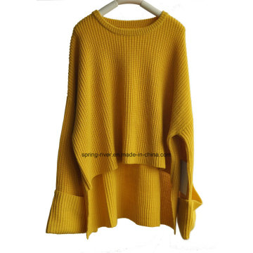 Moda suelta extra manga señoras jersey de punto jersey