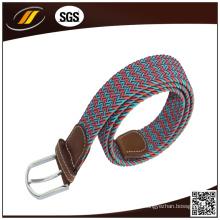 Cinturão trançado elástico colorido colorido com fivela de pino