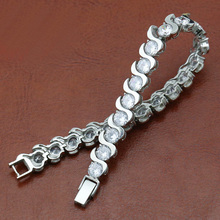 Wave shape shinny polished only stainless steel bracelet