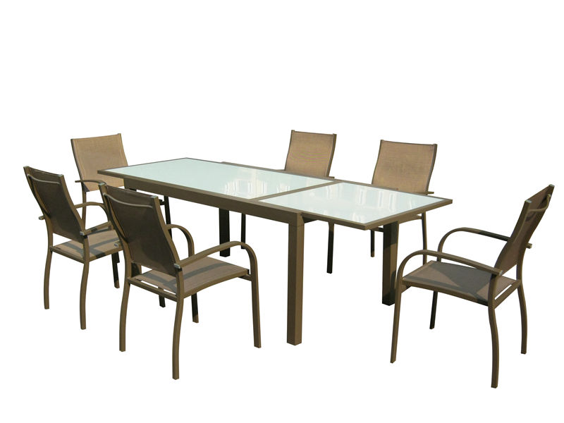 7pcs alu. Textilene extension dining set S1802