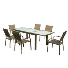 Europe style for Garden Table And Chairs 7pcs alu. Textilene extension dining set export to Bermuda Suppliers