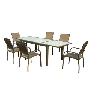 7pcs alu. Textilene extension dining set