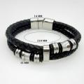 Clássica de dupla camada de couro feitos à mão tecida homem pulseiras moda novo ímã fecho bom aço pulseira