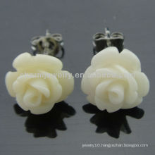 Fashion Coral Carved White Rose Flower Stud Earrings EF-013