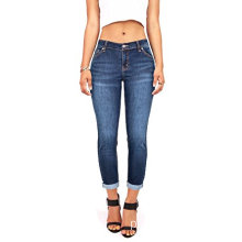 Juniors feminino meados de ascensão Jeans Capri Stretch