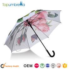 Proteção UV promocional Auto guarda-chuva de transferência de calor guarda-chuva aberto guarda-chuva