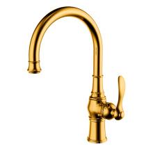 Copper single hole single handle kitchen faucet gold