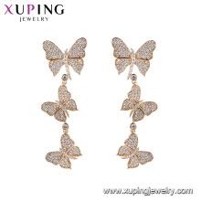 94705 xuping último diseño de oro de calidad superior con encanto multiplicar mariposa 18 k chapado en oro pendiente para la fiesta