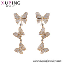 94705 xuping latest gold design top quality charming multiply butterfly 18k gold plated drop earring for party