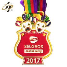 Personalizar la medalla de oro del medalla de metal del medalla del payaso con la cinta