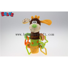 Colorful Plush Funny Dog Infant Toy Baby Stick Educational Toys with Plastic Accessory