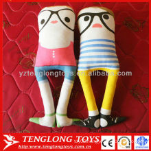 Unique design decorative high quality no arms suede stuffed toy with glasses