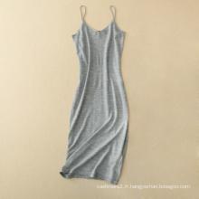 Femmes vêtements sans manches débardeur sexy robes épaules bretelles jupe 100% cachemire spaghetti sangle robe