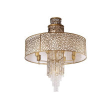 Hotel Bedroom Dining Room Glass Golden Led Fabric Lamp Shade Crystal Chandelier