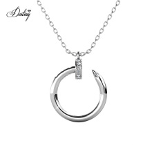 Gold Plated Curved Nail Pendant Necklace with Finest Crystal for Women