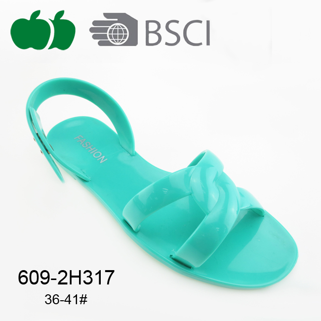 High Quality Fashion Fancy Ladies Flat Pvc Jelly Sandals