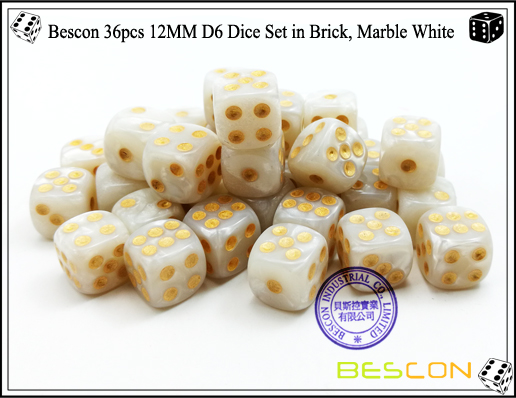 Bescon 36pcs 12MM D6 Dice Set in Brick, Marble White-5