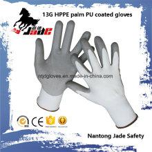 Heiße Verkäufe 13G Hppe PU beschichtete schneiden resistente Handschuhniveau Grad 3 und 5
