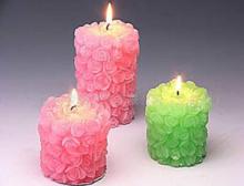 pink & green flower pillar candle